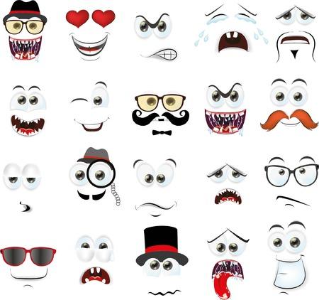 pintura en la cara: Vector conjunto de dibujos de diferentes caras aislados de personas