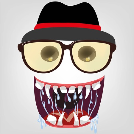 facial painting: Cartoon face of hipster character