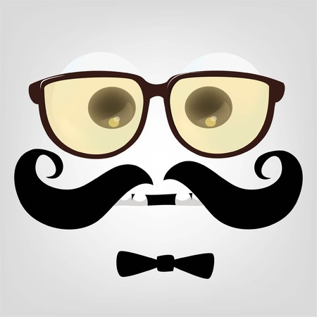 Cartoon face of hipster character Vector