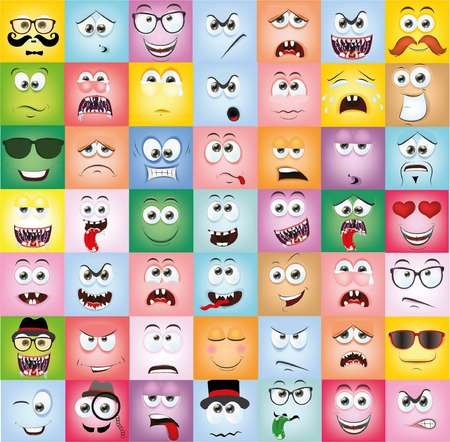 Laughing Face: Set Cartoon Gesichter mit verschiedenen Emotionen Illustration