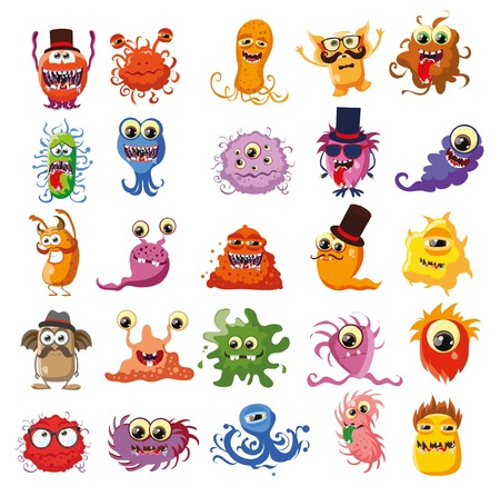 whimscal: Vector set of cartoon cute monsters Illustration