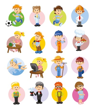 Vector set of cartoon characters of different professions
