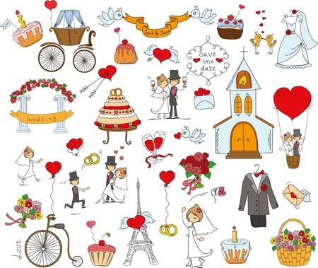 bride bouquet: Doodle wedding set