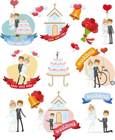 bride veil: Set of wedding design element for invitation cards Illustration