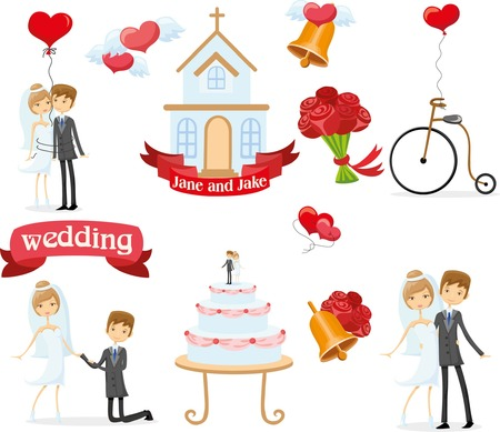 wedding veil: Set of wedding design element for invitation cards Illustration