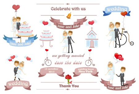 illustrates: Wedding invitation card with design template element