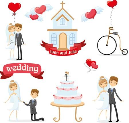 niños en bicicleta: Conjunto de fotografías de la boda, la novia y el novio en el amor Vectores