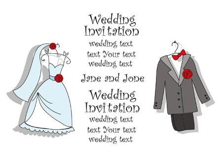 white coat: Doodle wedding invitation
