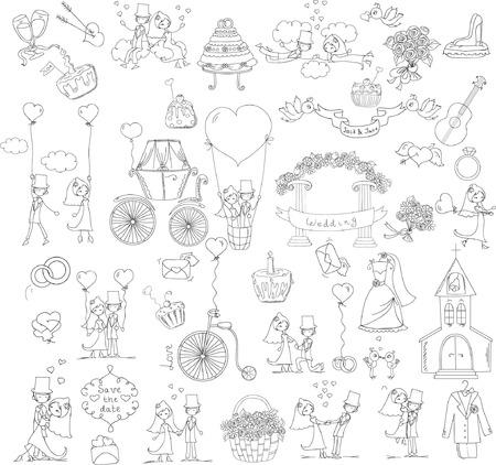 Doodle wedding set for invitation cards
