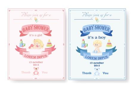 Baby shower invitation, template vector illustration Stock Vector - 36355107