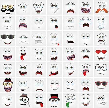 facial painting: Set of 49 cartoon faces with different emotions