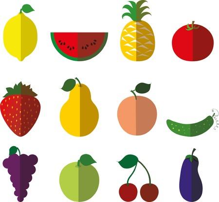 Vector set van platte fruitpictogrammen