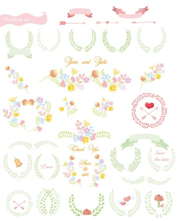 wreath of wheat: Set of wedding graphic set- wreath, flowers, arrows Illustration