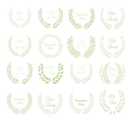 wreath of wheat: Set of green circular laurel floral wreaths depicting Illustration