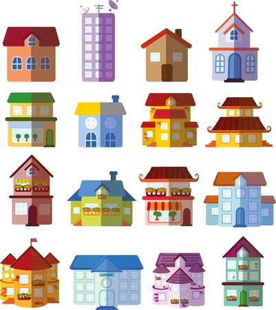 Set of vector flat buildings