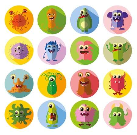 alien symbol: Cartoon cute flat monsters
