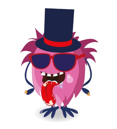 whimscal: Vector illustration of cartoon cute monster in hipster style
