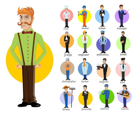 jobs people: Cartoon vector characters of different professions