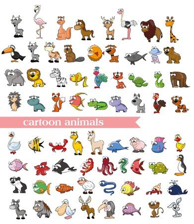 oso perezoso: Super conjunto de animales de dibujos animados lindo del vector