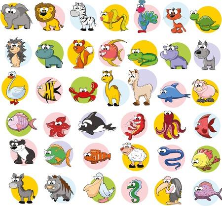 cute cartoon animals: Set of vector cute cartoon animals