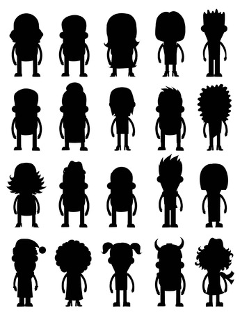 Set of vector silhouette of character avatar icons Çizim