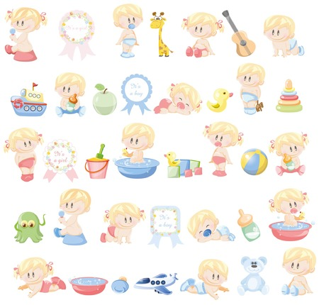 accessory: Illustration of different babies and kid\\\\