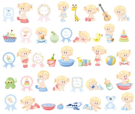 baby bath: Illustration of different babies and kid\\\\