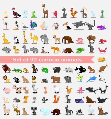 animaux: Super jeu de 92 animaux mignons de bande dessinée