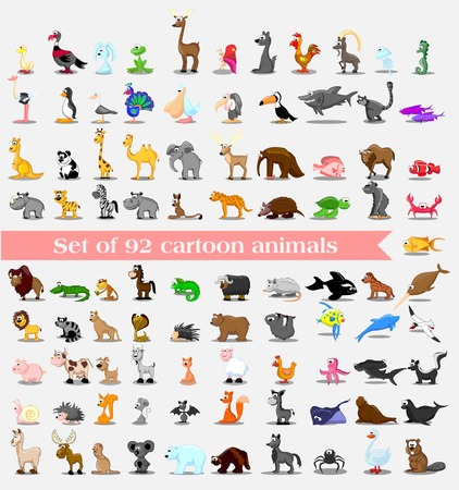 Super set van 92 leuke cartoon dieren Stock Illustratie