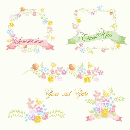 wreath of wheat: Set of wedding graphic set- wreath, flowers, laurel