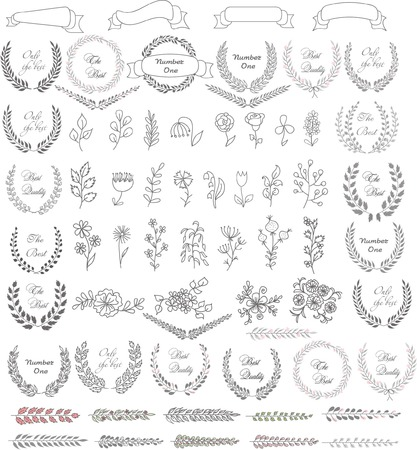 laurel leaf: Set of wedding graphic set- wreath, flowers, laurel
