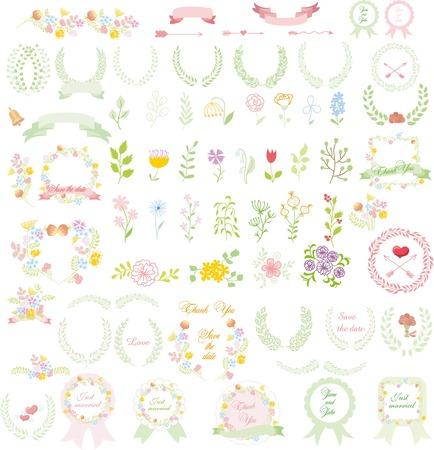 wreath of wheat: Set of wedding graphic set- wreath, flowers, arrows, hearts, laurel