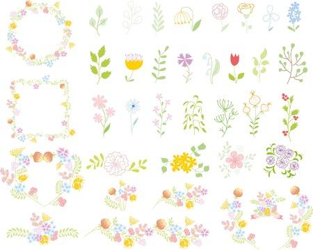Set of wedding graphic set- wreath, flowers, laurel, ribbons