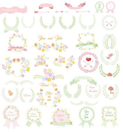 Set of wedding graphic set- wreath, flowers, arrows, hearts, laurel Vector