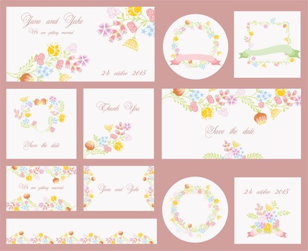 spring: Flower vector banners for wedding invitation or birthday cards