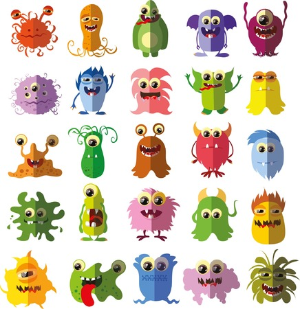toy story: Cartoon cute flat monsters