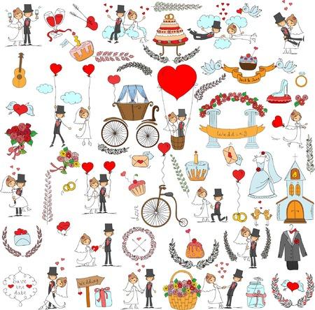 Boda Doodle fijado para las tarjetas de invitación, incluyendo el diseño de la plantilla