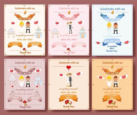 Tarjeta de invitación de boda con elemento plantilla de diseño Foto de archivo - 36988748