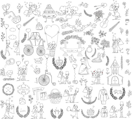 Doodle wedding set for invitation cards, including template design Illustration