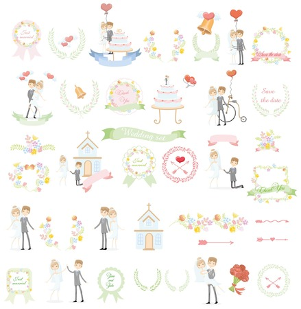 nuptial: Set of wedding template design elements for invitation cards
