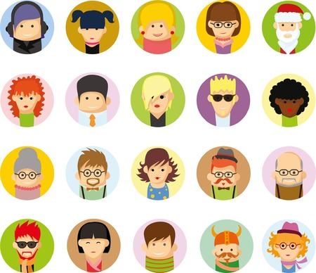 cartoon faces: Set of vector cute character avatar icons in flat design