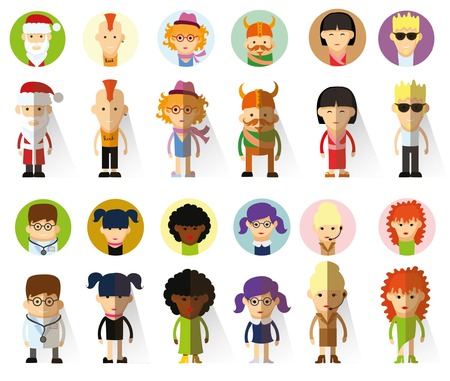 fashion design: Set of vector cute character avatar icons in flat design