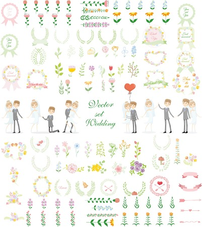 Set of wedding graphic set-groom and bride, wreath, flowers, arrows