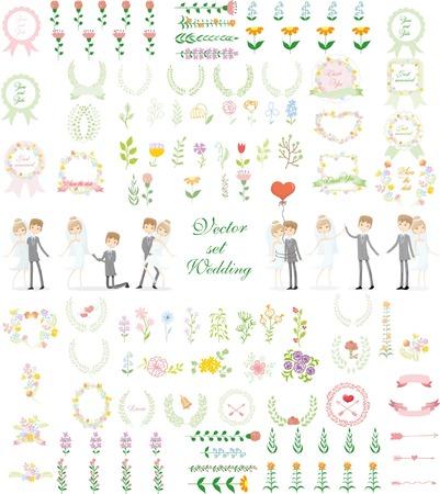Set of wedding graphic set-groom and bride, wreath, flowers, arrows Vector