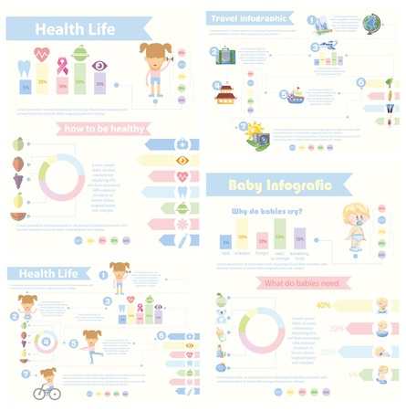 Set of 4 different Infographics - Health life,Baby Infographics Illustration