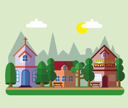 small business: Buildings background in the style of small business flat design