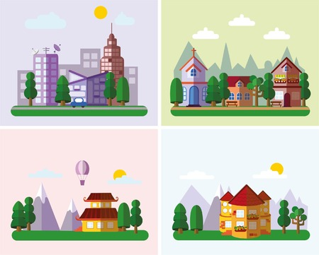 small business: Set of buildings in the style of small business flat design- urban Illustration