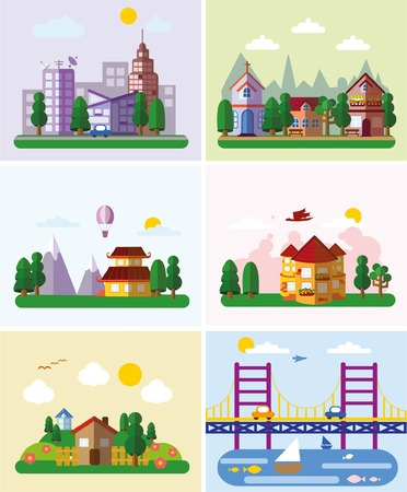office environment: Set of buildings in the style of small business flat design- urban Illustration
