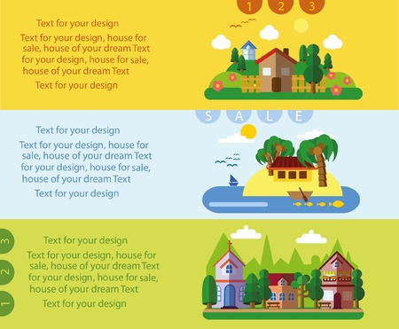 realtor: Set of different landscapes in the flat style - urban, country and