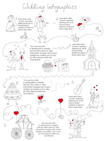 Doodle wedding infographics for invitation cards, including template